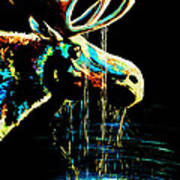 Midnight Moose Drool  Art Print by Teshia Art