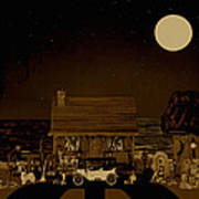 Midnight Near The Sea In Sepia Color Art Print