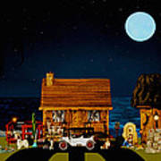 Midnight Near The Sea In Color Art Print by Leslie Crotty