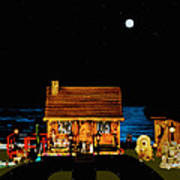 Log Cabin Scene Near The Ocean At Midnight Art Print by Leslie Crotty