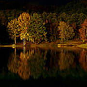 Midnight On The Lake Print by Linda Unger