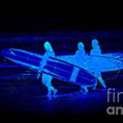 Midnight Surfers Art Print