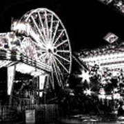 Midway Attractions In Black And White Art Print