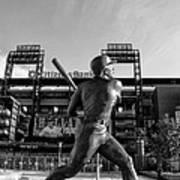 Mike Schmidt Statue In Black And White Art Print by Bill Cannon