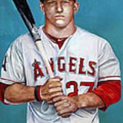 Mike Trout - La Angels Of Anaheim Print by Michael  Pattison