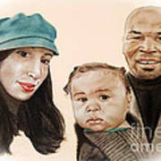 Mike Tyson And Family Altered Version From The One I Gave Him Art Print by Jim Fitzpatrick