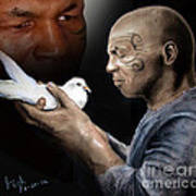 Mike Tyson And Pigeon II Art Print by Jim Fitzpatrick