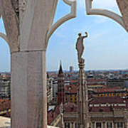 Milan Cathedral Rooftop View Art Print