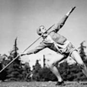 Mildred Babe Didrikson Holding A Javelin Art Print