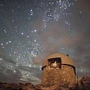 Milky Way Clouds Over The Mount Evans Observatory Print by Mike Berenson