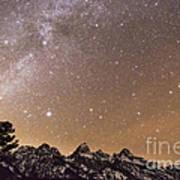 Milky Way Galaxy Over Teton Mountains Art Print