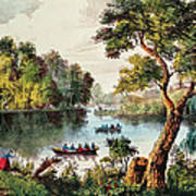 Mill Cove Lake Print by Currier and Ives
