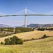 Millau Viaduct Panorama Midi Pyrenees France Art Print by Colin and Linda McKie