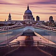 Millennium Bridge Leading Towards St Art Print