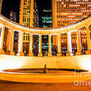 Millennium Monument Fountain In Chicago Print by Paul Velgos