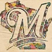 Milwaukee Brewers Poster Art Art Print
