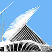 Milwaukee Skyline Art Museum - Light Blue Art Print by DB Artist