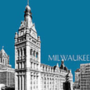 Milwaukee Skyline City Hall - Steel Art Print