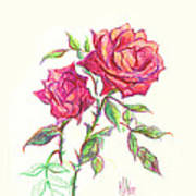 Minature Red Rose Art Print