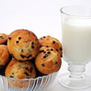 Mini Chocolate Chip Muffins And Milk - Bakery - Snack - Dairy - 1 Art Print