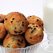 Mini Chocolate Chip Muffins And Milk - Bakery - Snack - Dairy - 2 Art Print