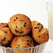 Mini Chocolate Chip Muffins And Milk - Bakery - Snack - Dairy - 3 Art Print