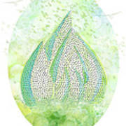 Mini Forest With Birds In Flight - Illustration Art Print