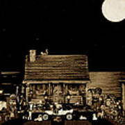 Miniature Log Cabin Scene With Old Time Classic 1908 Model T Ford In Sepia Color Art Print by Leslie Crotty
