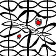 Minimalist Art Black White Red Abstract Art No.206. Art Print