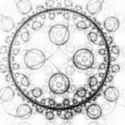 Minimalist Fractal Art Black And White Circles Art Print