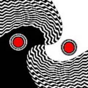 Minimalist Op Art Black White Red No.216 Art Print by Drinka Mercep