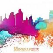 Minneapolis City Colored Skyline Art Print