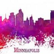Minneapolis City Skyline Purple Art Print