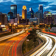 Minneapolis Light Trails Art Print