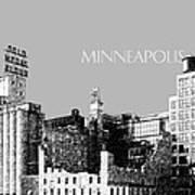 Minneapolis Skyline Mill City Museum - Silver Art Print