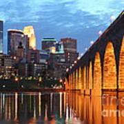 Minneapolis Skyline Photography Stone Arch Bridge Art Print