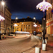 Miodowa Street In Warsaw At Night Art Print