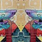 Mirrored Aztec Dog Art Print
