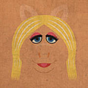 Miss Piggy Vintage Minimalistic Illustration On Worn Distressed Canvas Series No 011 Art Print