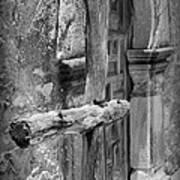 Mission Espada - Wooden Cross - Bw Art Print