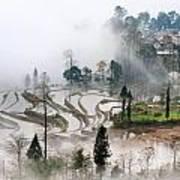 Mist And Village Art Print