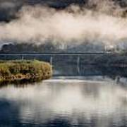Mists And Bridge Over Klamath Art Print