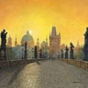 Misty Dawn Charles Bridge Prague Art Print by Richard Harpum