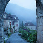 Misty Dawn In Saint Cirq Lapopie Art Print by Brian Jannsen