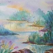 Misty Morn On A  Mountain Lake Art Print