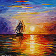 Misty Ship - Palette Knife Oil Painting On Canvas By Leonid Afremov Art Print