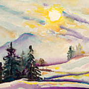 Misty Winter Afternoon In The Alps Art Print