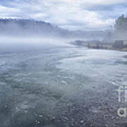 Misty Winter Morning On Lake Art Print