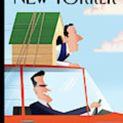 Mitt Romney Driving With Rick Santorum In A Dog Art Print by Bob Staake