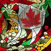 Mosaic  Stained Glass - Canadian Maple Leaf Art Print